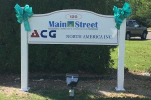 Bristol CT Business Sign Teal Ribbon