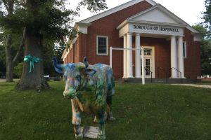 Hopewell NJ Teal Tree Ox Statue