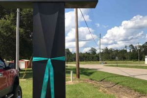 Pass Christian Mississippi Business Sign Teal Ribbon