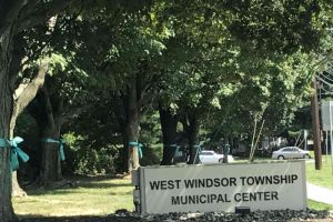West Windsor New Jersey Municipal Center Ribbons Tied On Trees